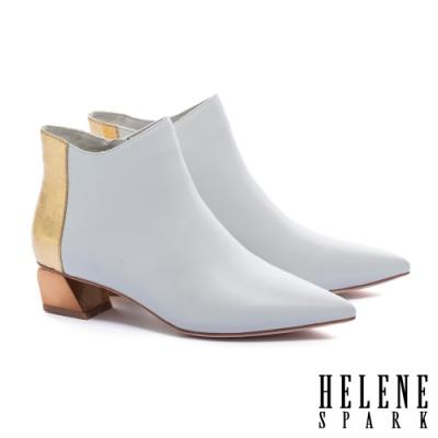 短靴 HELENE SPARK 簡約時尚金屬感拼接全真皮尖頭低跟短靴-白