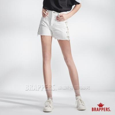 BRAPPERS 女款 Boy friend系列-中腰編繩造型褲口抽鬚短褲-白