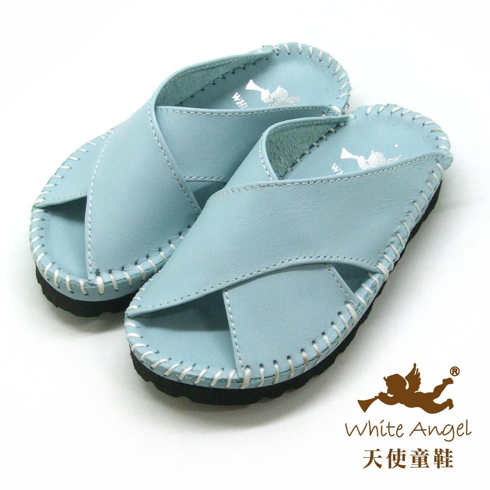 天使童鞋 X真皮手工拖鞋(小-中童)T37-水藍
