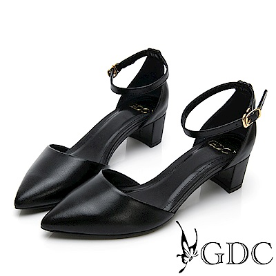 GDC-真皮尖頭中空粗跟淑女繞帶跟鞋-黑色