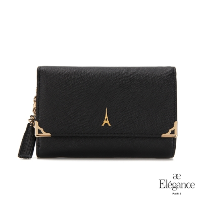 【Elegance】LIVELY 十字紋對折中夾-黑色