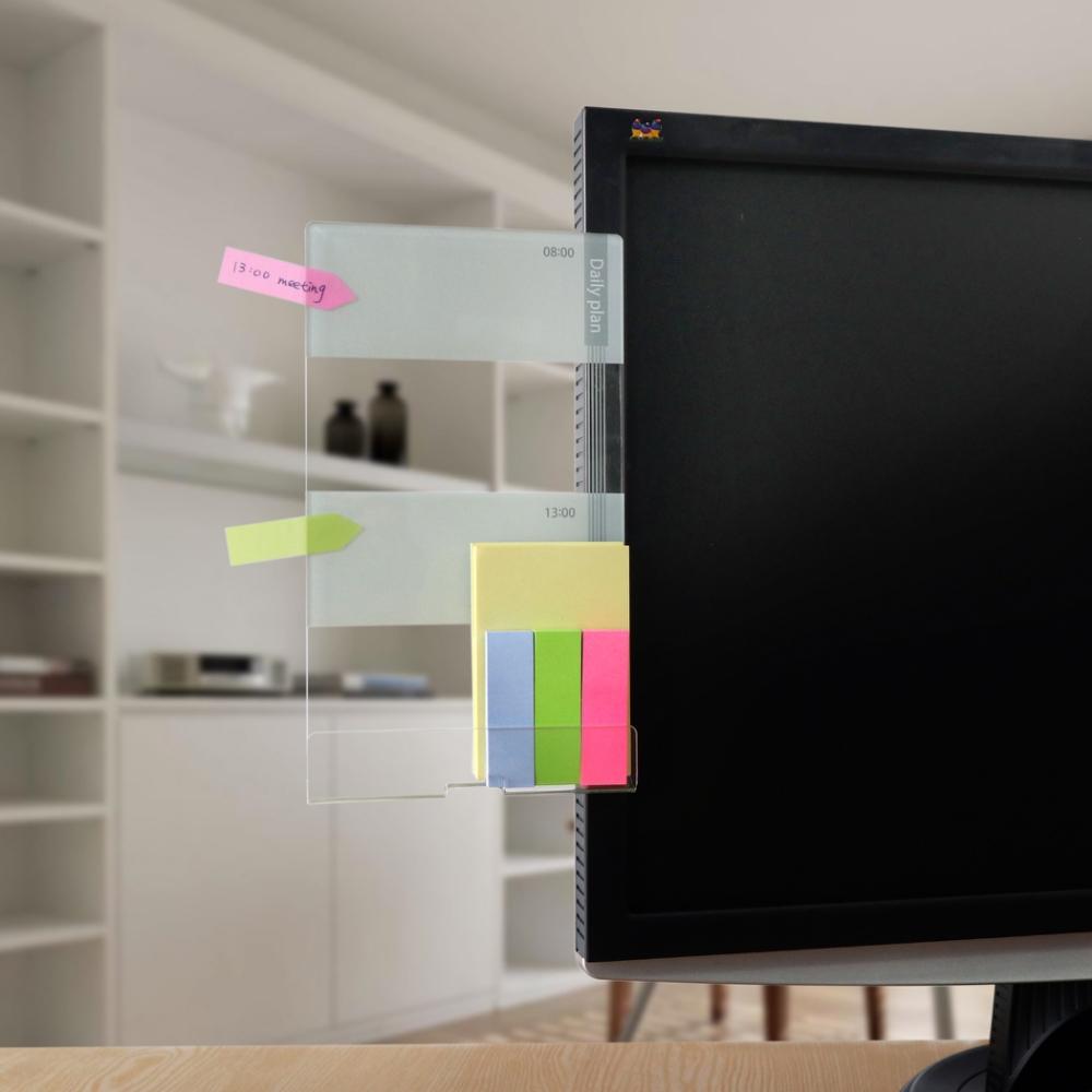 OSHI歐士 側邊留言板-日計畫(灰)-左側款/螢幕留言板/便利貼留言板/手機座/手機架