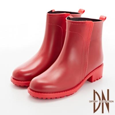 DN雨靴_戀上雨天甜美偽縫線造型雨靴-紅