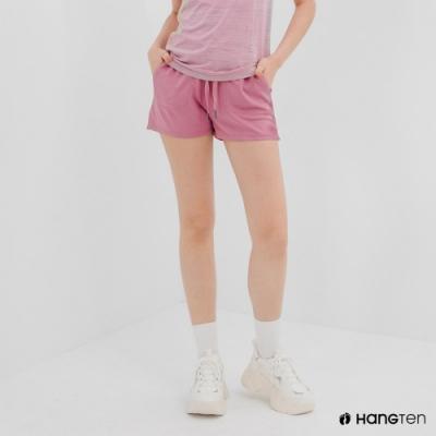 Hang Ten-女裝-恆溫多功能-REGULAR FIT標準鳥眼吸排紗涼感抗菌除臭運動短褲-粉色