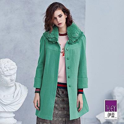 ILEY伊蕾 造型層次毛領羊毛混紡大衣(綠)