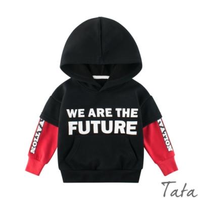 童裝 英文排字拼接袖連帽上衣 TATA KIDS