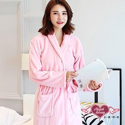 保暖睡袍 暖心觸碰 素色法蘭絨一件式綁帶睡衣(淺粉F) AngelHoney天使霓裳