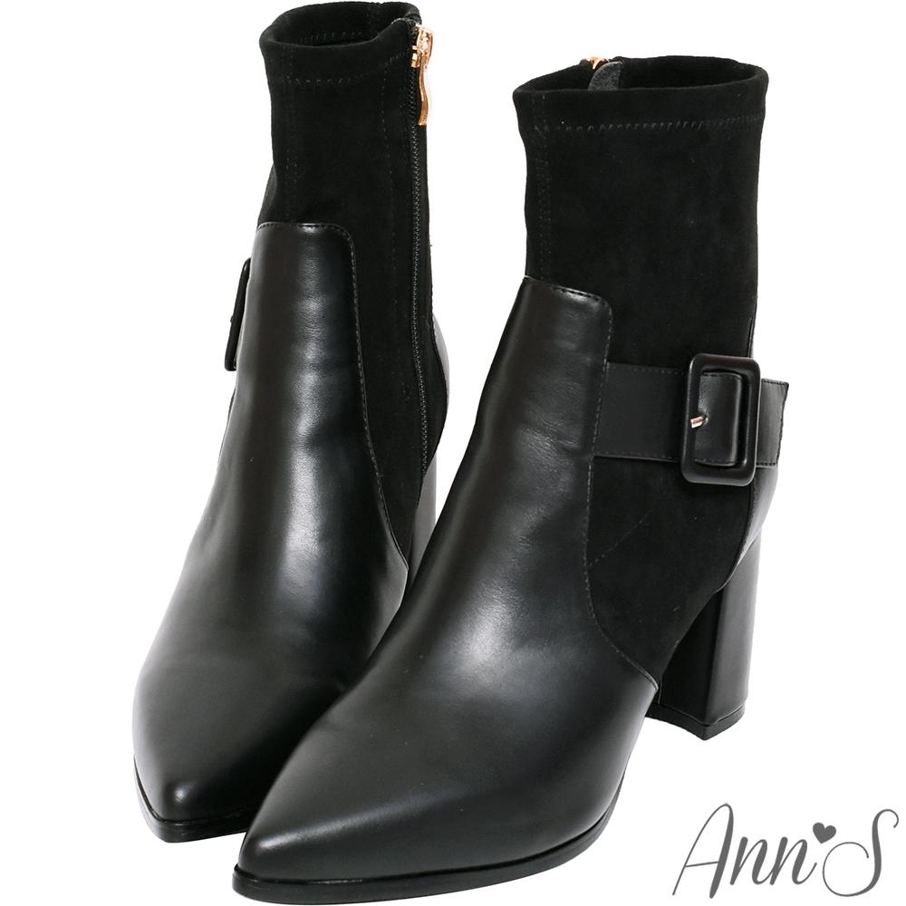 Ann'S都市輪廓-皮革方扣貼腿襪套粗跟尖頭短靴-黑(版型偏小)