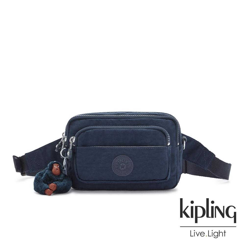 Kipling 沉穩素面藍多重背法前袋腰包-MERRYL