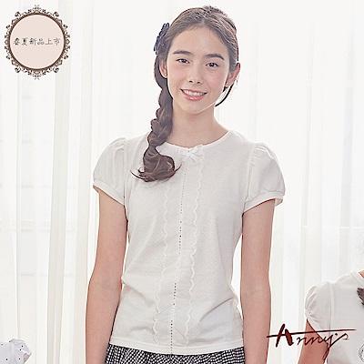 Annys安妮公主-氣質網紗蝴蝶結蕾絲亮片舒適透氣棉質公主袖上衣*8321白