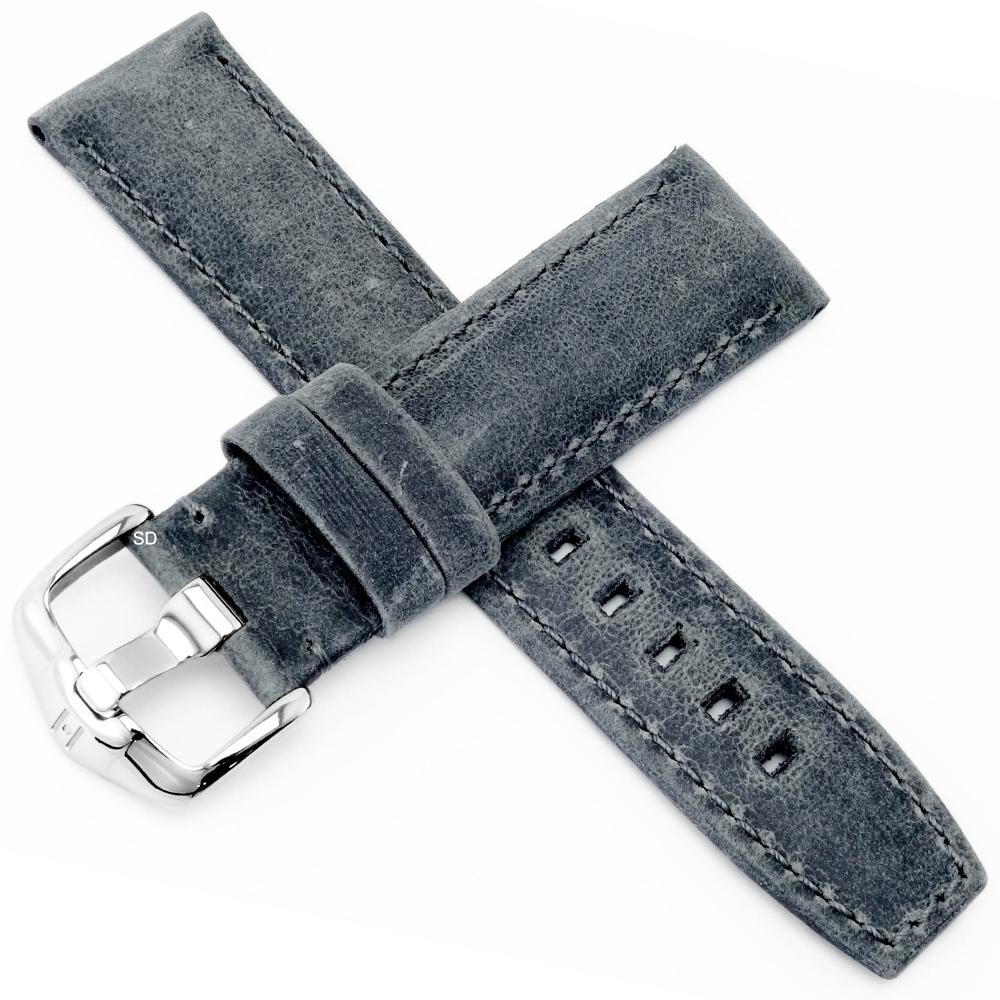 海奕施 HIRSCH Tritone L柔軟真皮手錶帶-深灰