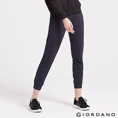 GIORDANO 女裝素色抽繩運動休閒束口褲-02 標誌海軍藍