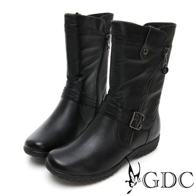 GDC-熱銷側拉鍊真皮超舒適底台中筒靴-黑色