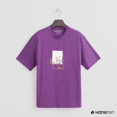 Hang Ten- 青少童裝-純棉圓領圖案短袖T-紅紫