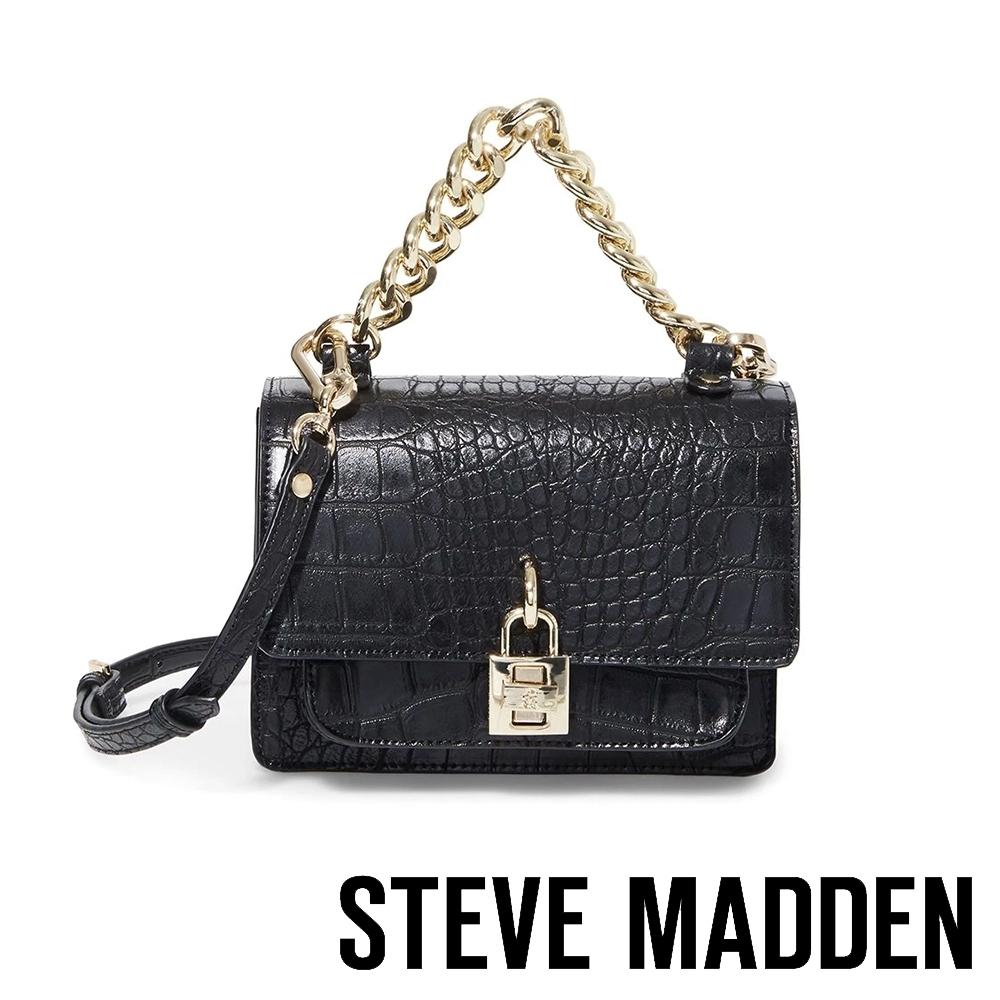 STEVE MADDEN-BJAZ 時尚經典鱷魚壓紋翻蓋鍊包-黑色