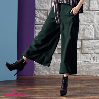 【SHOWCASE】氣質側雪紡拼接微透寬褲/長褲(綠 )