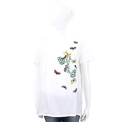 Max Mara-WEEKEND 串珠蝴蝶圖案白色棉質T恤