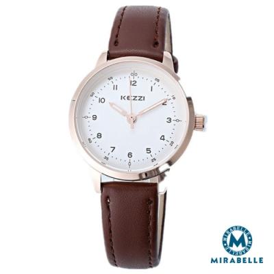 Mirabelle簡約點時 銀框白面皮革女錶 咖32mm(KEZZI)