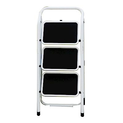 金德恩 台灣製造 全鋼鐵製加大止滑腳踏板 三階扶手平台折疊梯/關節梯/馬椅梯