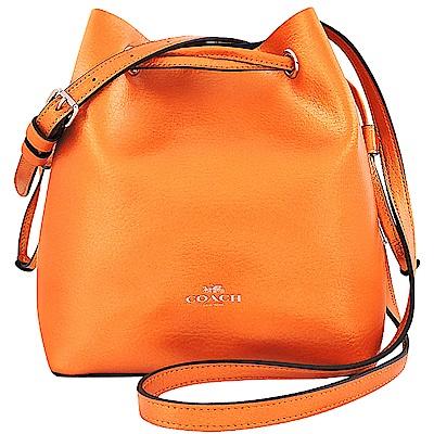 COACH 橙黃色光澤皮革斜背水桶包