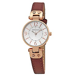 Anne Klein 大馬士革玫瑰情緣精緻小牛皮腕錶-玫瑰金x26mm