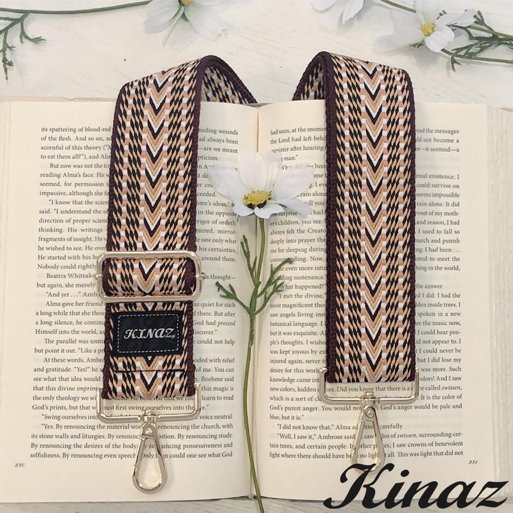 KINAZ 加寬異國織紋品牌質感寬版背帶-檀木黃-帶我走系列