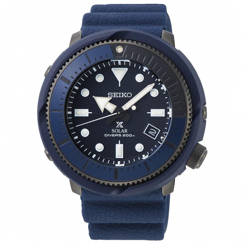SEIKO精工 Prospex 海洋之心太陽能潛水錶(SNE533P1)-藍/46.2mm