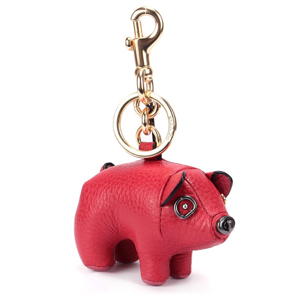 COACH 可愛小豬造型皮革鑰匙圈-紅色COACH