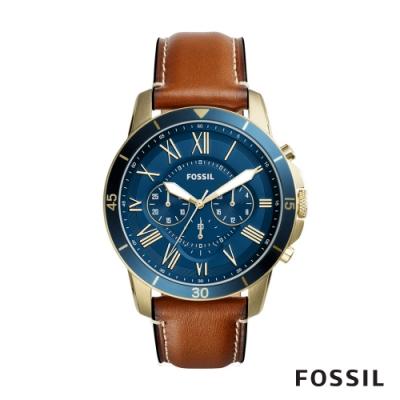【FOSSIL】 GRANT SPORT 生活探索石英計時皮革男錶-金X棕色 44MM FS5268