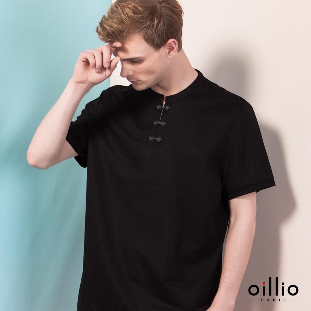 oillio歐洲貴族 短袖旗袍圓領T恤 素面棉料休閒款 黑色