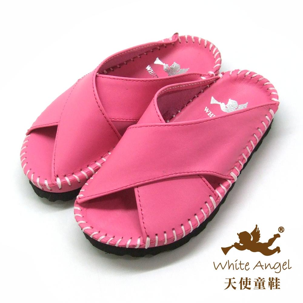 天使童鞋 X真皮手工拖鞋(小-中童)T37-桃