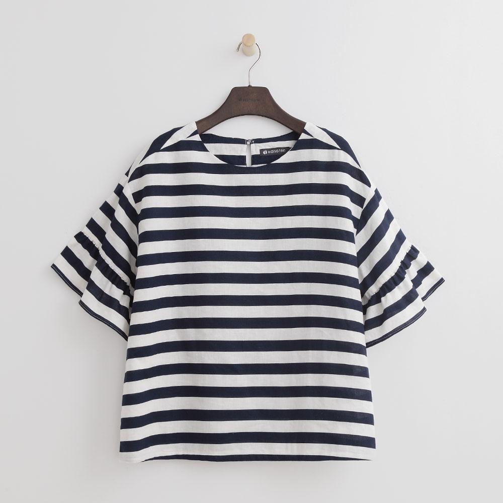 Hang Ten - 女裝 - 甜美荷葉袖條紋上衣-深藍色