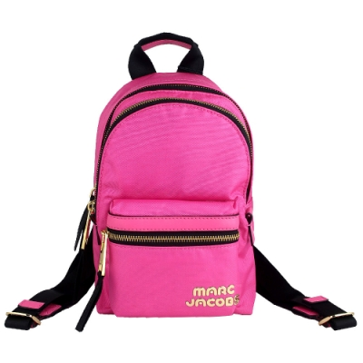 MARC JACOBS 粉桃色金屬品牌標誌尼龍小型拉鍊後背包