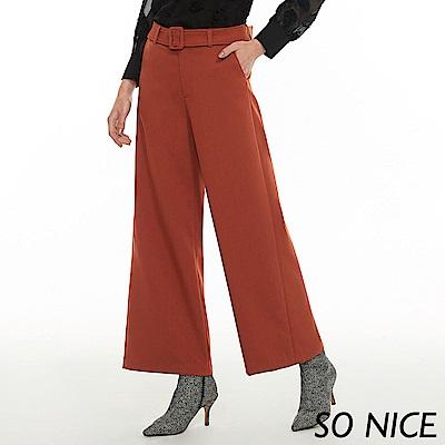 SO NICE俐落都會腰帶斜紋寬褲