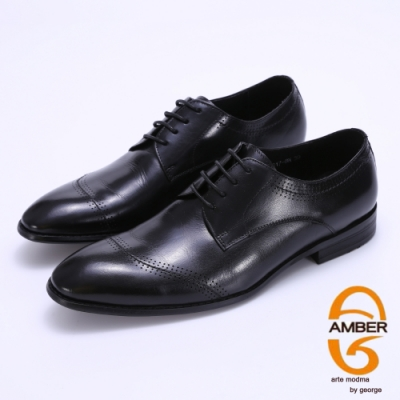 Amber 特殊縫線柔軟真皮紳士鞋-黑色
