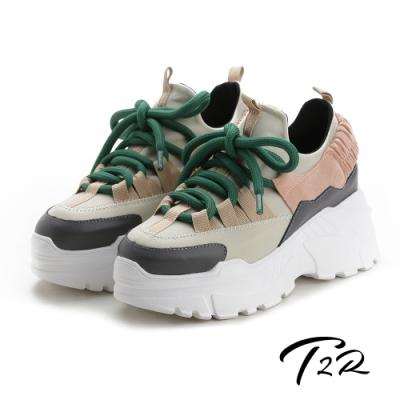 T2R-正韓空運-透氣牛皮網布隱形內增高厚底老爹鞋-增高9公分