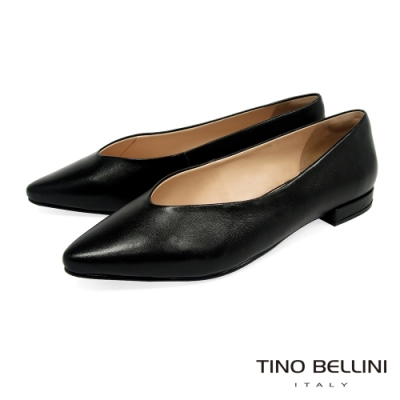 Tino Bellini巴西進口單色牛皮V口平底鞋_黑