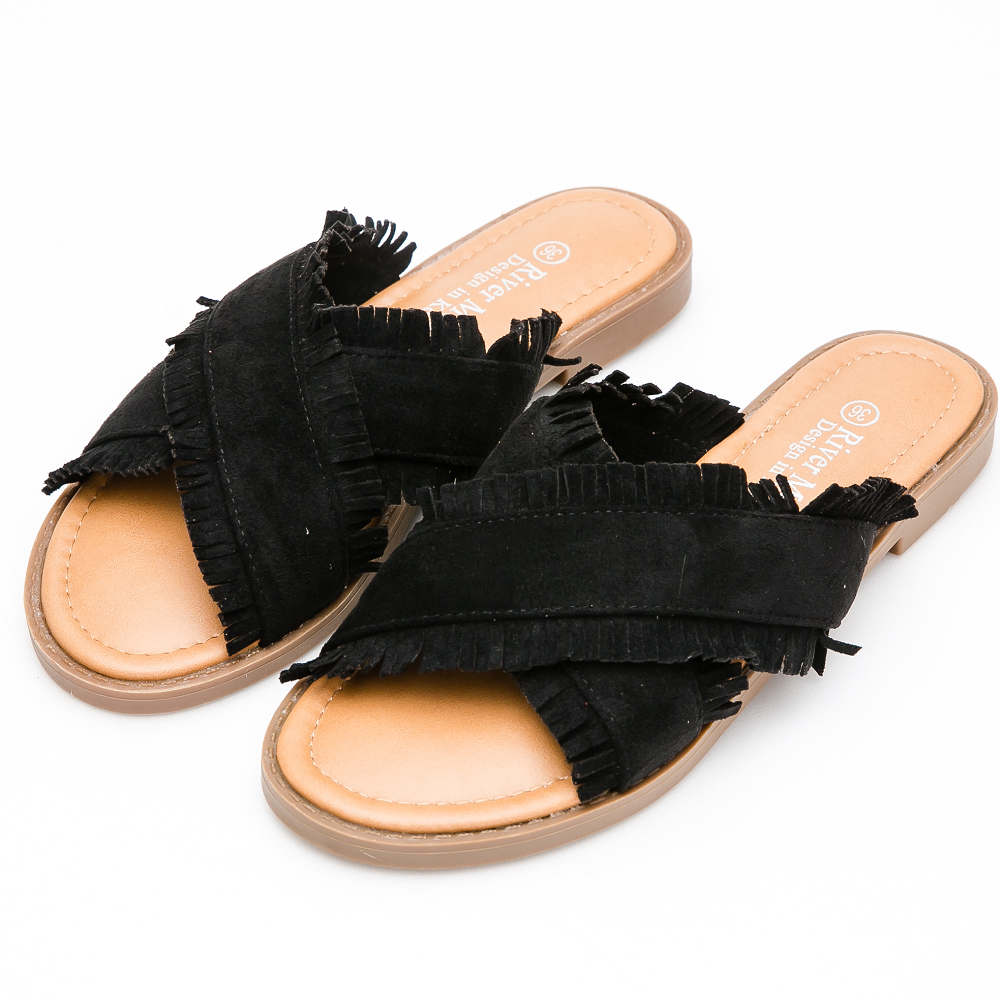 River&Moon中大尺碼-寬版細絨交叉荷葉平底涼拖鞋*黑