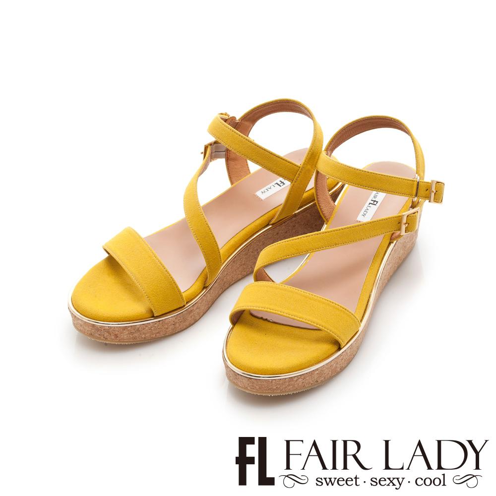 【FAIR LADY】一字繞帶木塞楔型厚底涼鞋 黃