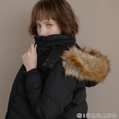 GIORDANO 女裝素色可拆式連帽羽絨外套 - 01 標誌黑