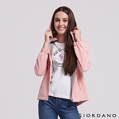GIORDANO  女裝搖粒絨可拆帽防風外套-07 中花薄紗粉紅