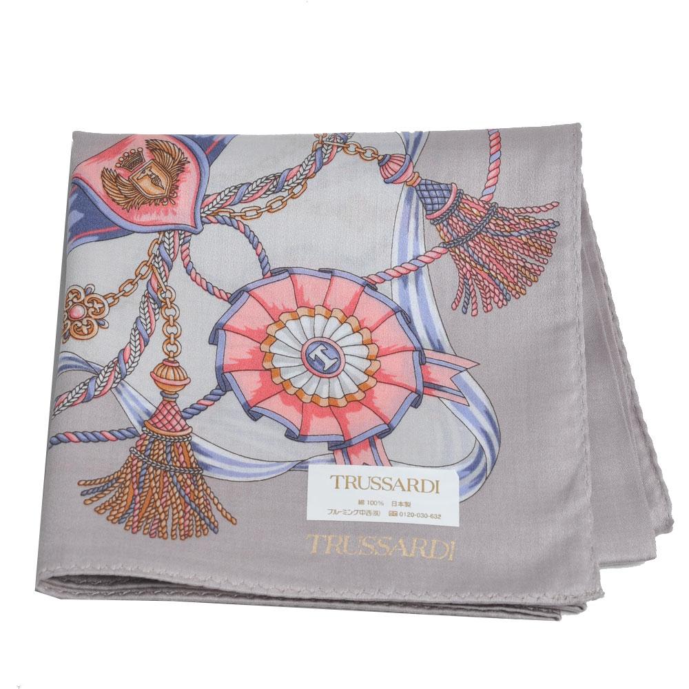 TRUSSARDI 經典品牌流蘇圖騰LOGO大帕領巾(灰色系) @ Y!購物