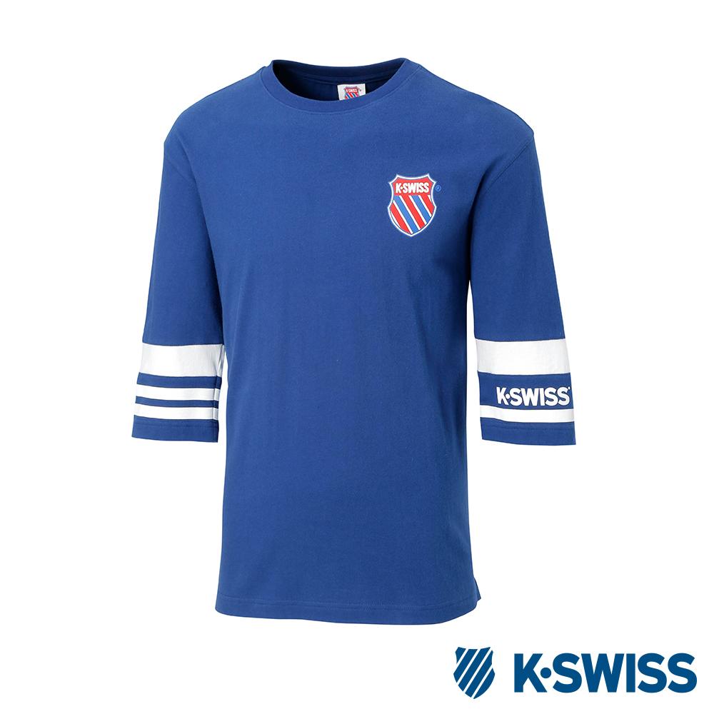 K-SWISS Stripe Sleeve Tee印花短袖T恤-男-藍