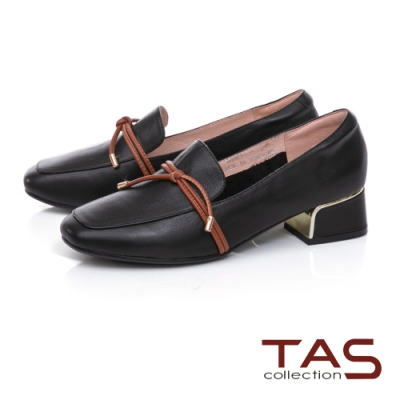 TAS造型素面綁帶牛皮方頭低跟鞋-百搭黑