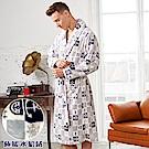 睡袍 船錨水手風 極暖高克重超柔軟水貂絨男性睡袍(70220-6灰)蕾妮塔塔