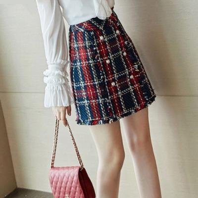 設計所在Lady-英倫風格子A字小香風呢子短裙(S-XL可選)