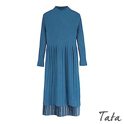 拼接開叉百褶針織洋裝 共二色 TATA