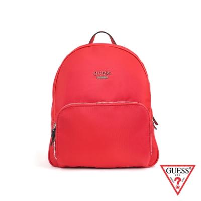 GUESS-女包-素面經典字母logo後背包-紅