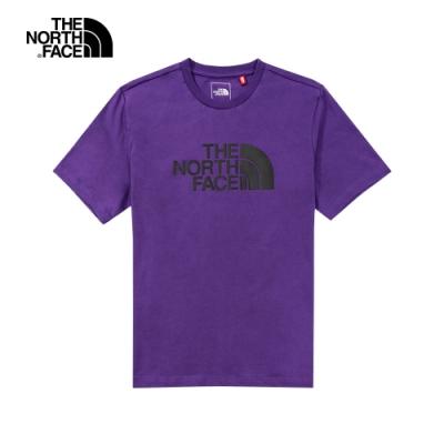 The North Face北面男女款紫色黑LOGO短袖T恤 5B3QNL4