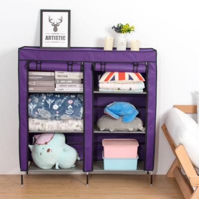 樂嫚妮 雙排六層DIY組合防塵鞋架/鞋櫃-紫
